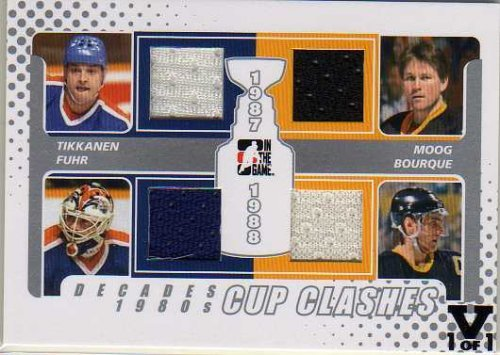 2010-11 ITG Decades 1980s Stanley Cup Clashes Jerseys Silver #CC09 Esa Tikkanen Grant Fuhr Andy Moog Raymond Bourque Vault #1/1