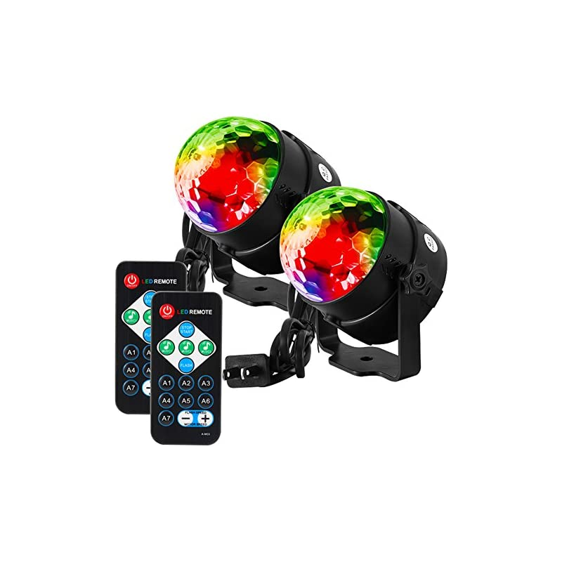 Litake Party Lights Disco Ball Strobe Light Disco Lights, 7 Colors Sound Activated Stage Light with Remote Control for Festival Bar Club Party Wedding Home Show -2 Pack
