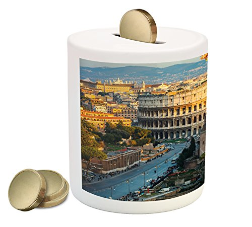 Ambesonne Italy Piggy Bank, Colosseum in Rome Amphitheater Historical Architecture Evening, Ceramic Coin Bank Money Box for Cash Saving, 3.6