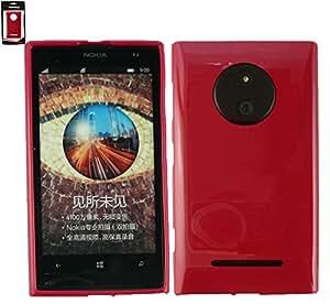 Emartbuy® Value Paquete para Nokia Lumia 830 Pellicola Protettiva + Shiny Lustroso TPU Gel Funda Carcasa Case Cover Rojo + Compatible Micro USB Cargador de Coche