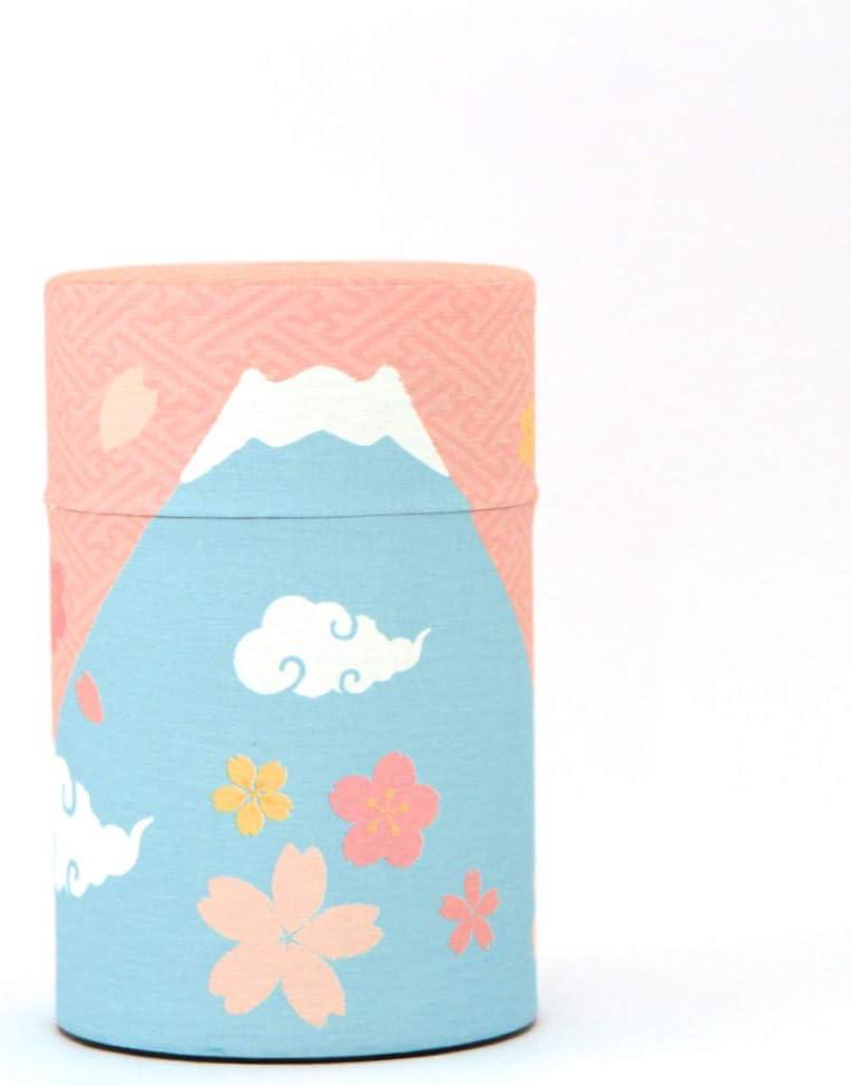 Japanese Tea Canister [Mt.Fuji & Sakura Pink] 70g~100g Tea Capacity -Airtight Tin from Japan   Japanese Tea KIMIKURA