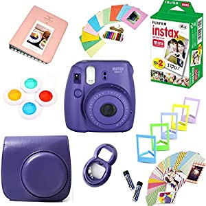 Fujifilm Instax Mini 8 Film Camera + Instax Mini Film (20 Shots) + Protective Camera Case + Selfie Lens + Filters + Frames Photix Decorative Design Kit …