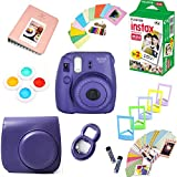 Fujifilm Instax Mini 8 Film Camera (Grape) + Instax Mini Film (20 Shots) + Protective Camera Case + Selfie Lens + Filters + Frames Photix Decorative Design Kit