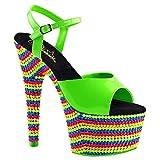 Womens Neon Green Heels Platform Sandals Blacklight Reactive Shoes 7 Inch Heels Size: 10