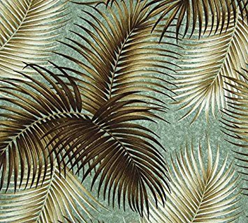(Mana Seafoam Tropical Barkcloth Fabric)