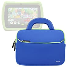 Evecase LeapFrog Epic/ LeapPad Platinum/ LeapPad Ultra XDI 7'' Kids Tablet Sleeve Case, Slim Neoprene Briefcase w/ Handle & Accessory Pocket/ Ultra Portable Travel Carrying Pouch Cover - Blue