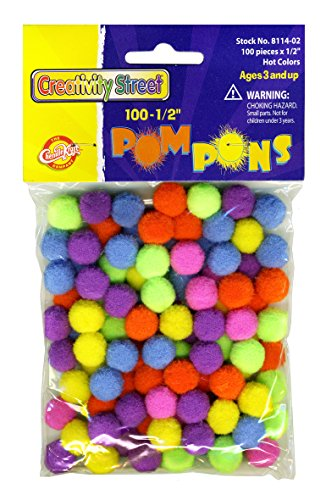 Creativity Street Hot Colors Pom Pons, 0.5-Inch, 100-Pack (AC8114-02) (Best Color For Creativity)