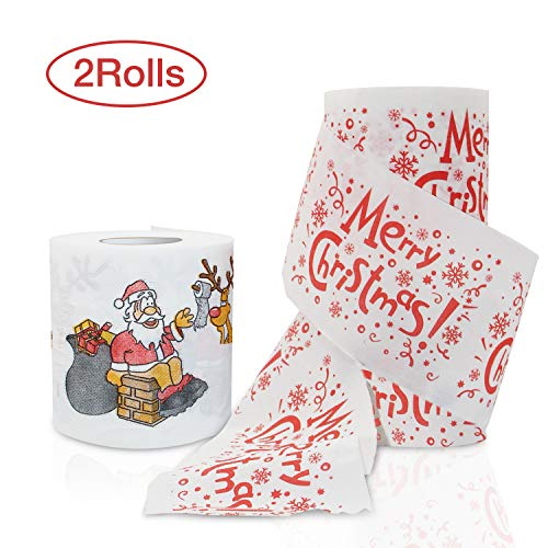 HOFASON Christmas Toilet Paper 2 Rolls - Real Toilet Paper / Funny Christmas Decoration - Happy New Year Santa - Novelty Joke Humor Gag