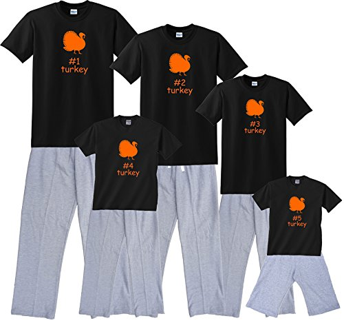 #4 Turkey Black Shirt Pant Set - Adult XX-Large, S/S, Grey Pants (422) (Turkey Size For 4 Adults)