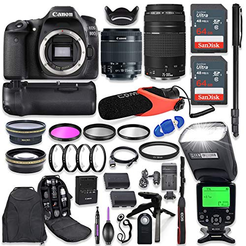 Canon EOS 80D DSLR Camera with EF-S 18-55mm f/3.5-5.6 is STM + EF 75-300mm f/4-5.6 III Lens with Advanced Professional Photo & Travel Bundle ()