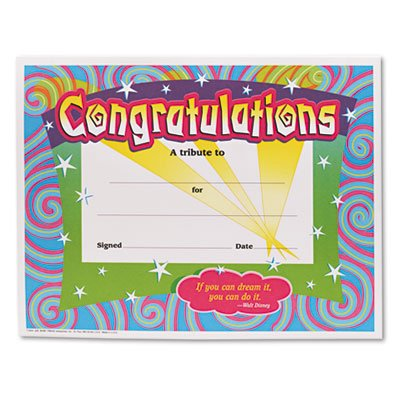 Congratulations Certificates, 8-1/2 x 11, White Border, 30/Pack, Sold as 1 Package