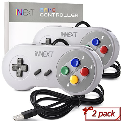 2 Pack SNES Super Controller, iNNEXT Retro USB Super Classic Controller PC Mac Linux Raspberry Pi 3 Steam Sega Genesis Higan (Multicolored Keys)