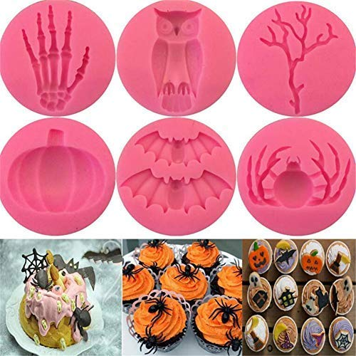 6 pcs 3D Halloween Skeleton hand Pumpkin shape Silicone Mould Cake Decorating Mold Tool, Baking Fondant Candy Chocolate Gumpaste Moulds, DIY Bakeware Pan, Clay Plaster Polymer Making Molds -