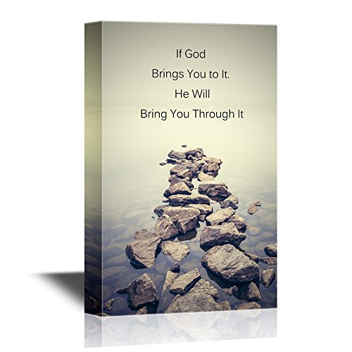 wall26 - Christian Quotes Series Canvas Wall Art - If God Brings You to It, He Will Bring You Through It - Gallery Wrap Modern Home Decor | Ready to Hang - 24x36 inches -