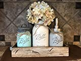 nana cookie jar - Ball Mason Jar CANISTER 5pc SET with galvanized metal lid Antique WHITE wood Tray ~Utensil holder Soap Dispenser Kitchen Bathroom counter decor (flower optional) JARS Distressed Gray Blue Cream Tan