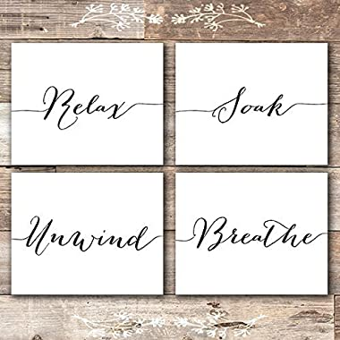 Relax Soak Unwind Breathe Wall Art Bathroom Decor (Set of 4) - Unframed - 8x10s
