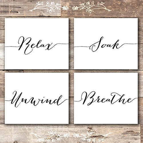 Relax Soak Unwind Breathe Wall Art Bathroom Decor (Set of 4) - Unframed - -