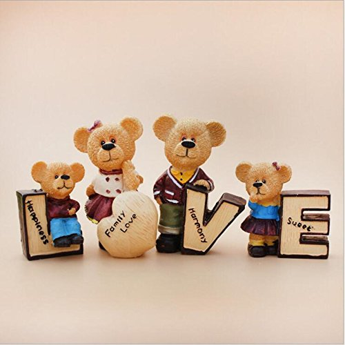 (4pcs/Set Love Carton Teddy Bear Resin Doll Car Interior Decoration Figurine Home Craft Decorations)