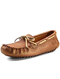 OZZEG Women's Leather Shoes Casual Cowhide Leather Driving Flat Loafers Shoes
