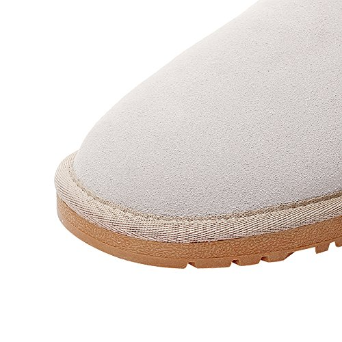 Calf Suede Mid Classic rismart Fur Snow Faux Women Lined Beige Boots Axnwx04qE