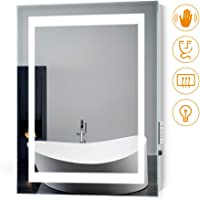 Quavikey 500 x 700mm LED Illuminated Bathroom Mirror Square Light With Shaver Socket & Infra-red Sensor Switch & Demister Pad For Makeup Cosmetic And Shaver Charging
