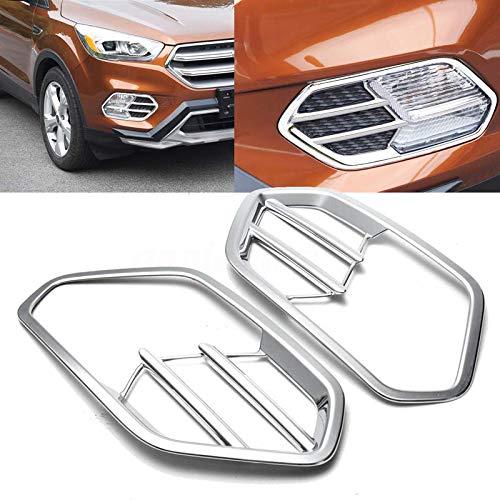 Fit For 17 Ford Escape KUGA Chrome Front Fog Light Lamp Cover Trim Bezel Molding