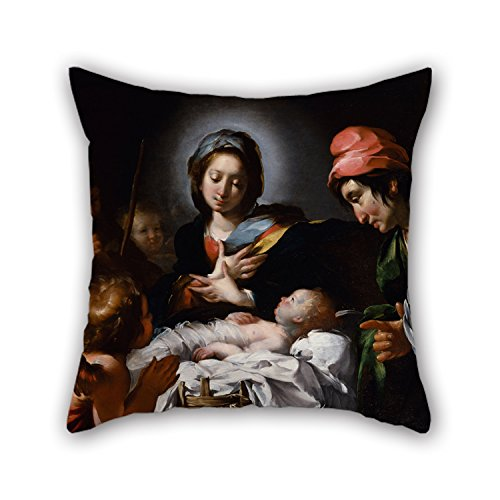 [The Oil Painting Bernardo Strozzi - Adoration Of The Shepherds Throw Pillow Covers Of ,18 X 18 Inches / 45 By 45 Cm Decoration,gift For Bench,floor,gf,drawing Room,boys,coffee House (twice] (Dr Gregory House Costume)