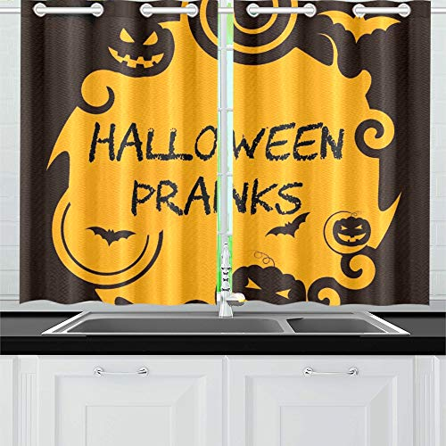 (ENEVOTX Halloween Pranks Showing Trick Treat Joker Kitchen Curtains Window Curtain Tiers for Café, Bath, Laundry, Living Room Bedroom 26 X 39 Inch 2)