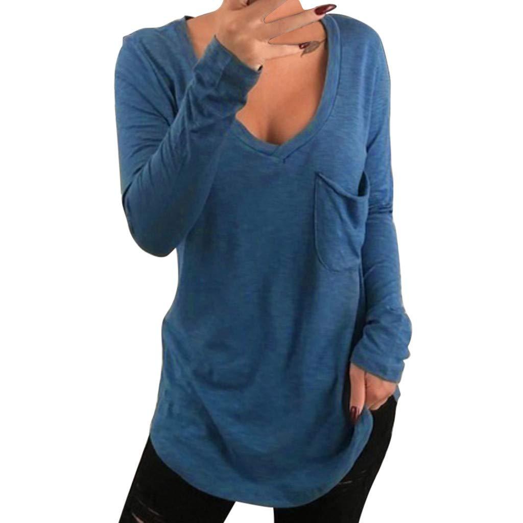 FRAUIT Damen Solide V-Ausschnitt Tasche Langarm Pullover Bluse Shirt Tops Longshirt Langarm Shirt Tunika Sweatshirt