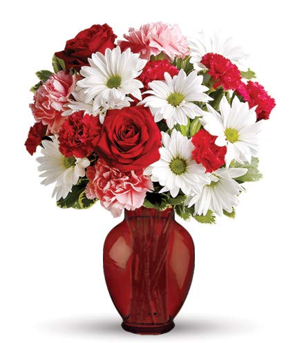 Hugs and Kisses Red Roses, White Daisies, Pink Carnations Bouquet in a Red Vase (Fresh Cut Flowers)