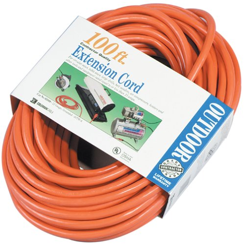 Orange 2589 Coleman Cable 02509 100-Feet 12//3 SJTW Extension Cord