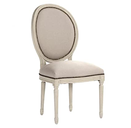 Kathy Kuo Home Pair Madeleine French Country Oval Linen Burlap Dining Side  Chair