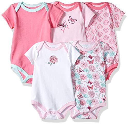 (Luvable Friends Unisex Baby Cotton Bodysuits, Butterfly Short Sleeve 5 Pack, 18-24 Months (24M) )
