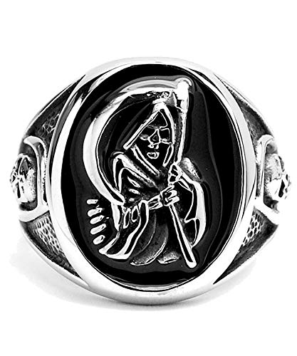 Men's Stainless Steel Casted Grim Reaper Ring with Enamel Size 14 (Rings Sons Of Anarchy)
