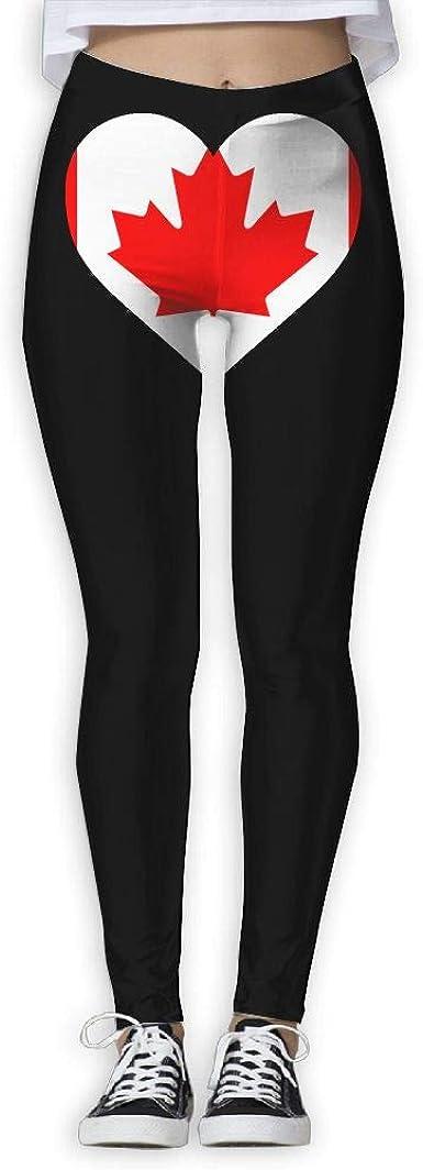 Amazon Com Womens Yoga Pants Canada Heart Love Comfy Workout Leggings Clothing