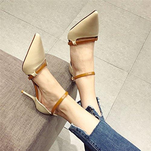 Color Zapatos Altos Discoteca Los al Trabajo De Cuero 7Cm Se Tacones MDRW Lady Elegante Muelle Ocio wYOqxnTUv0