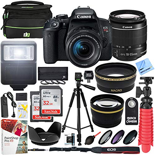 Canon T7i EOS Rebel DSLR Camera with EF-S 18-55mm is STM Lens and Two (2) 32GB SDHC Memory Cards Plus 58mm Wide Angle & Telephoto Lens Tripod Cleaning Kit Accessory - Dealers Canon Authorized