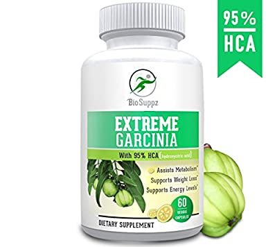 BioSuppz Garcinia Cambogia, 100% Pure | 95% HCA, Weight Loss Pills | Fat Burner | Diet Pills | Appetite Suppressant | Natural | For Women & Men | Healthy Organic | 1400mg | One Month Supply