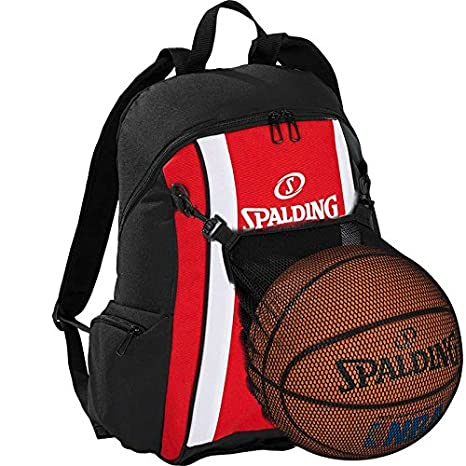 Spalding – Mochila de baloncesto Rojo/Negro con pelota de red ...