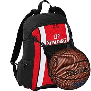 Spalding Basketball Rucksack orange//schwarz mit Ballnetz und Aufdruck Ihres Namen