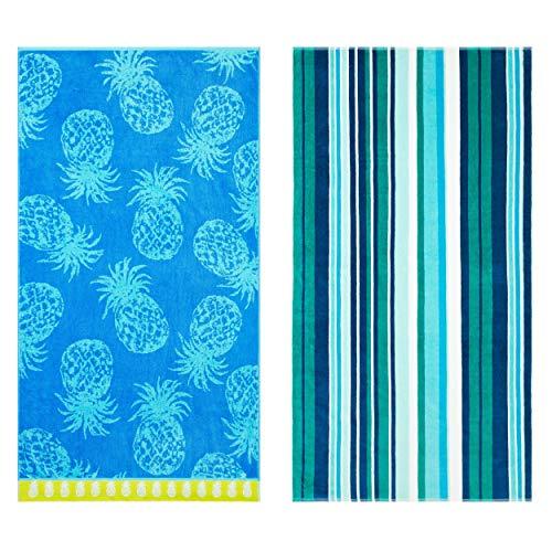 Tommy Bahama Pineapple Passion/Canvas Stripe Beach Towel Set 36 x 68 Passsion