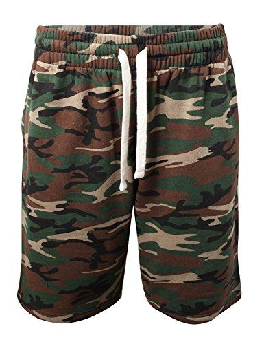 ProGo Men's Casual Basic Fleece Marled Shorts Pants with Elastic Waist (Forest Camo, XX-Large)