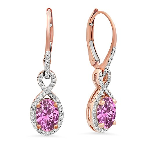 (14K Rose Gold 7X5 MM Each Oval Lab Created Pink Sapphire & Round Diamond Dangling Drop Earrings)