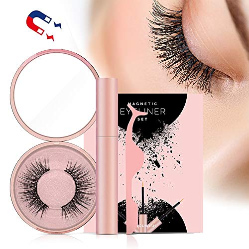 Magnetic Eyelashes, Magnetic Eyeliner With 3D Magnetic False Eyelashes Reusable Fake Eye Lashes (Best Fake Lashes For Small Eyes)