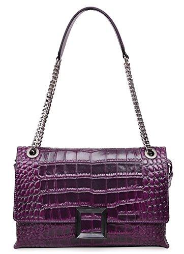 PIJUSHI Women Shoulder Handbag Designer Crocodile Bag Fashion Chain Purses for Women 27002(One Size, Violet Croco) by PIJUSHI