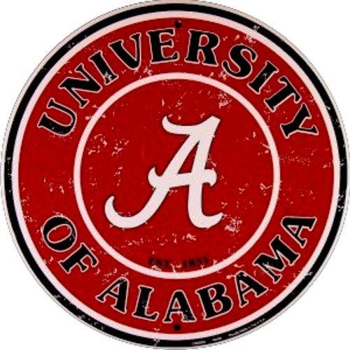 Crimson Sign Tide Alabama - Alabama Crimson Tide Bama NCAA Embossed Metal Nostalgia Circular Sign