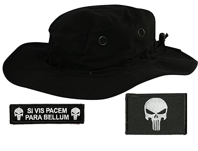Gadsden and Culpeper Operator Boonie Hat Bundle   Patches - Punisher Black 995da4b05c2