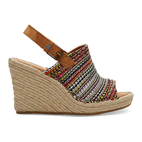 TOMS Women's Wedge Sandals (Cherry Tomato Global Woven, 7.5 M US)
