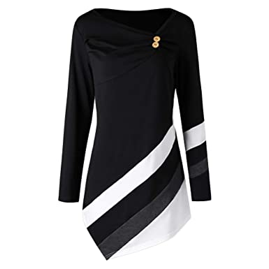 68150e38e17fc Zainafacai Fashion 2018Women Lady Plus Size Striped Asymmtrical Tunic Tops  Bodycon Mid-Long 2018
