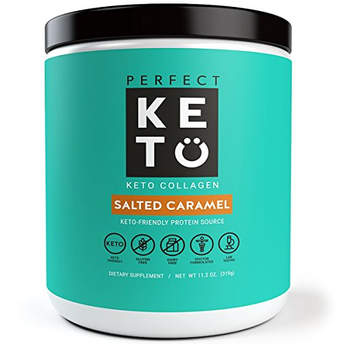 Perfect Keto Protein Powder Salted Caramel: Grass Fed Collagen Peptides Low Carb Keto Drink Supplement With MCT Oil Powder - Best as Keto Drink Creamer or added to Ketogenic Diet Snacks. Gluten Free by Perfect Keto